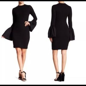 CAD Black Bodycon Fitted dress Flared Bell Sleeves